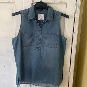 Denim sleeveless shirt NWOT